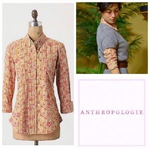 Anthropologie Yellow Gingham Pink Embroidered Top